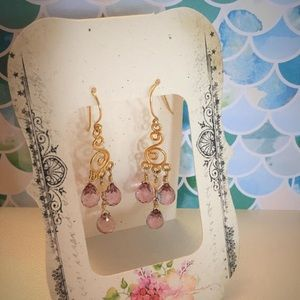Jewelry - Vintage Genuine pink topaz earrings